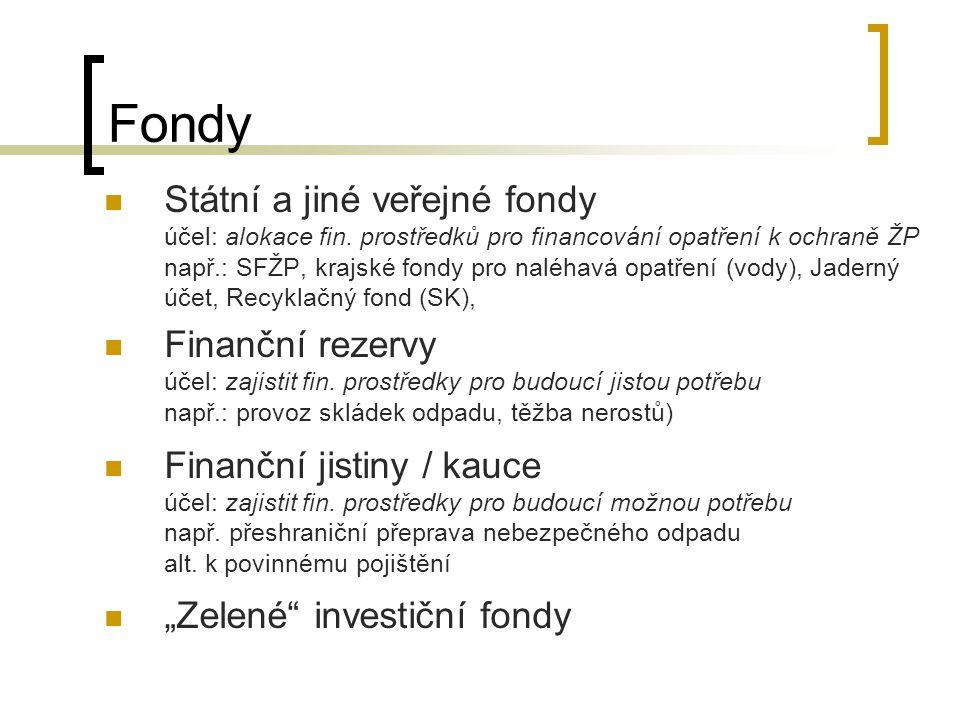 Fondy Státní a jiné veřejné fondy účel: alokace fin. prostředků pro financování opatření k ochraně ŽP např.: SFŽP, krajské fondy pro naléhavá opatření