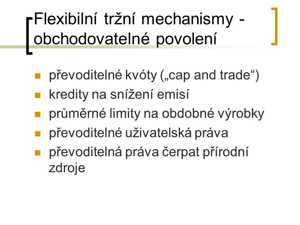 """Flexibilní tržní mechanismy - obchodovatelné povolení převoditelné kvóty (""""cap and trade ) kredity na snížení emisí průměrné limity na obdobné výrobky převoditelné uživatelská práva převoditelná práva čerpat přírodní zdroje"""