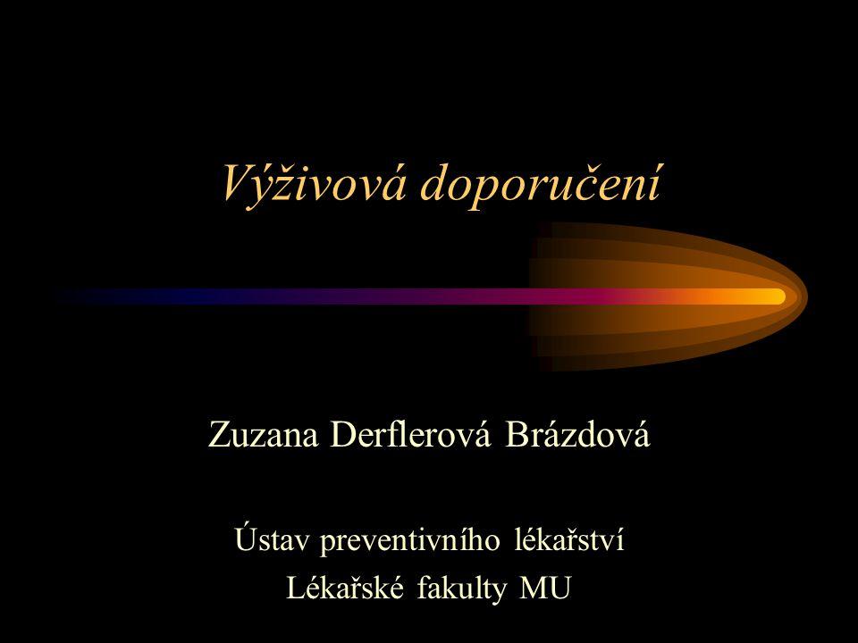 Výživová doporučení Zuzana Derflerová Brázdová Ústav preventivního lékařství Lékařské fakulty MU