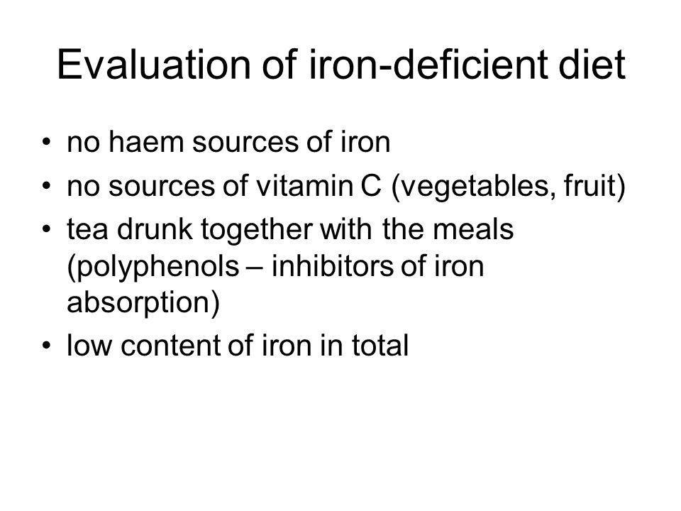 Iron-deficient diet Breakfast: wheat porridge with milk (kasha), tea Snack: yoghurt Lunch: milk soup with potatoe, legumes with boiled egg, tea Snack: eiscream Dinner: buckwheat (griechka) with fried onion, tea