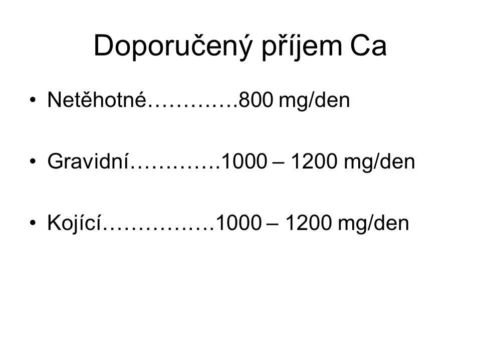 Potřeba vápníku Zásoby v těle matky jsou vysoké (cca 1.2 kg) Asi 30 g Ca přechází během gravidity do plodu Absorpce Ca se během 2. trimestru zdvojnáso