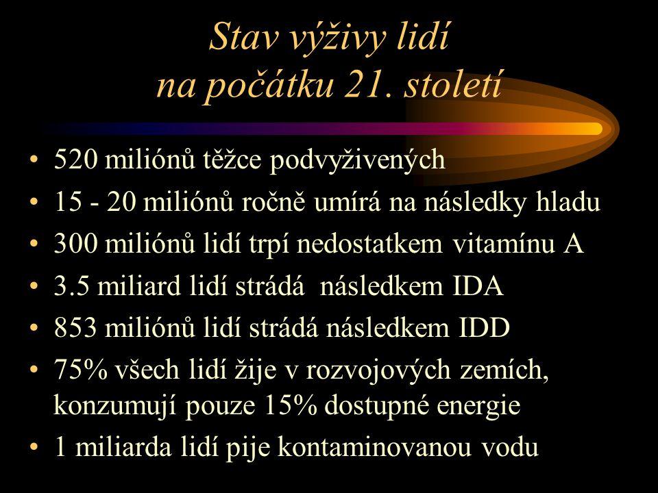 Choroby hromadného výskytu s etiologickou účastí výživy (rozvojové země) PEMKwashiorkorDysenterie Následky nedostatku vitamínu A Nutriční anémie (nedostatek Fe) IDD (nedostatek jódu) CholeraHepatom (aflatoxiny) Hepatitis A