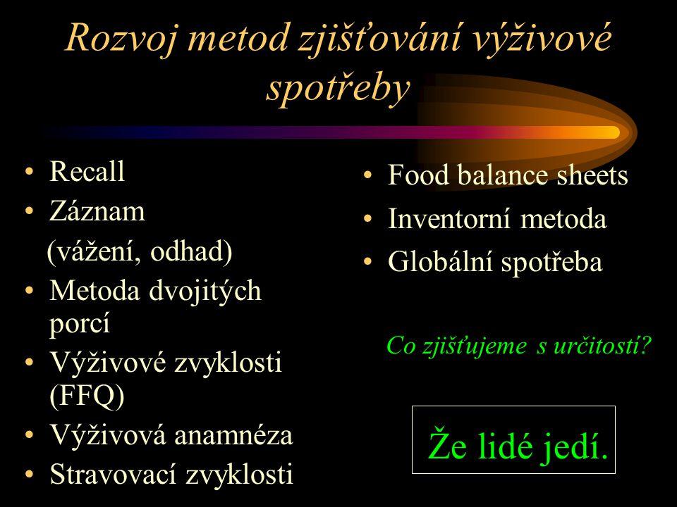 Úloha preventivního lékařství v řešení problémů výživy a zdraví Popis problémů – epidemiologické studie (ÚPL LF MU Brno, 1997 - 2000) Studie příjmu vá