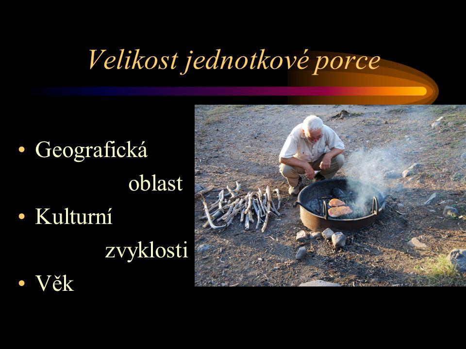 Výživová doporučení pro českou populaci v termínech poživatin Obilniny, pečivo, těstoviny: 3-6 jednotkových porcí Zelenina: 3-5 jednotkových porcí (a 100 g) Ovoce: 2-4 jednotkové porce (a 100 g) Mléko a ml.