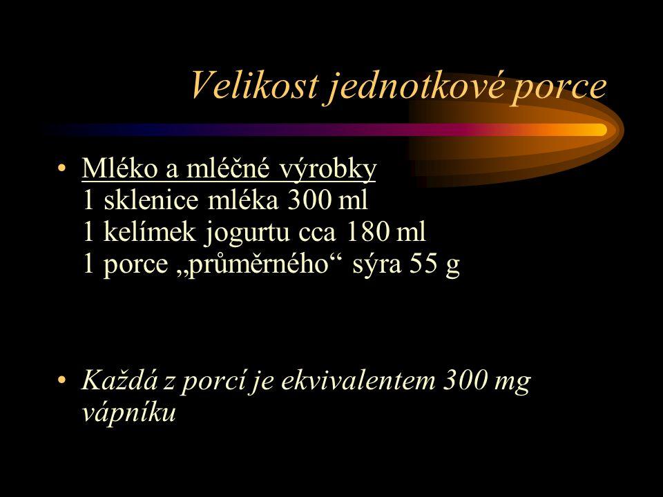 Velikost jednotkové porce Obilniny, těstoviny, pečivo, rýže: 1 krajíc chleba nebo rohlík (60 g) 1 kopeček rýže nebo těstovin (125 g) 1 miska musli Zelenina 1kus cca 100 g Ovoce 1kus cca 100 g