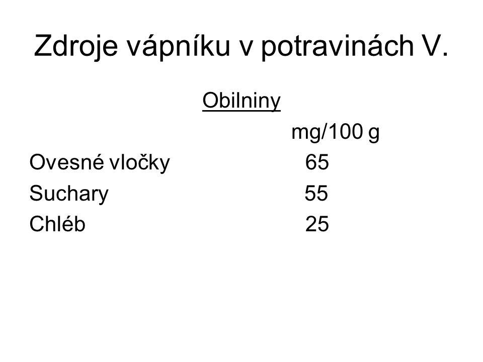 Zdroje vápníku v potravinách IV.
