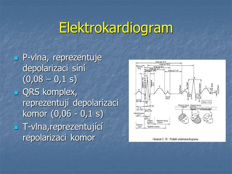 Elektrokardiogram P-vlna, reprezentuje depolarizaci síní (0,08 – 0,1 s) P-vlna, reprezentuje depolarizaci síní (0,08 – 0,1 s) QRS komplex, reprezentuj