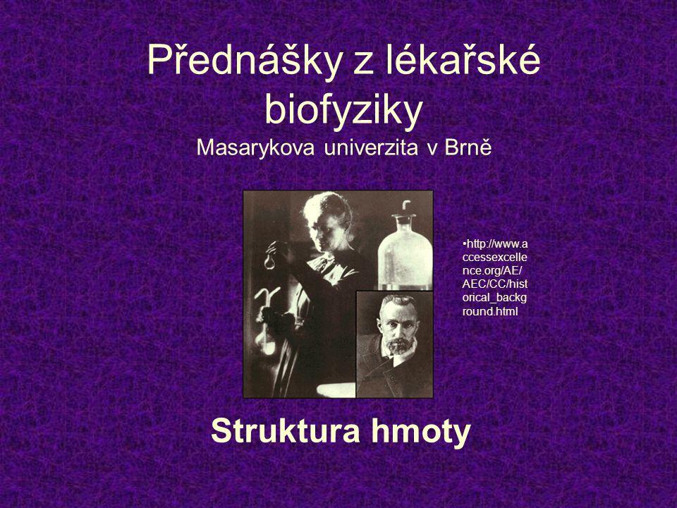 Přednášky z lékařské biofyziky Masarykova univerzita v Brně Struktura hmoty http://www.a ccessexcelle nce.org/AE/ AEC/CC/hist orical_backg round.html