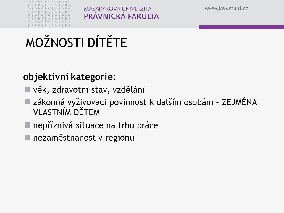 www.law.muni.cz MOŽNOSTI DÍTĚTE objektivní kategorie: věk, zdravotní stav, vzdělání zákonná vyživovací povinnost k dalším osobám – ZEJMÉNA VLASTNÍM DĚTEM nepříznivá situace na trhu práce nezaměstnanost v regionu