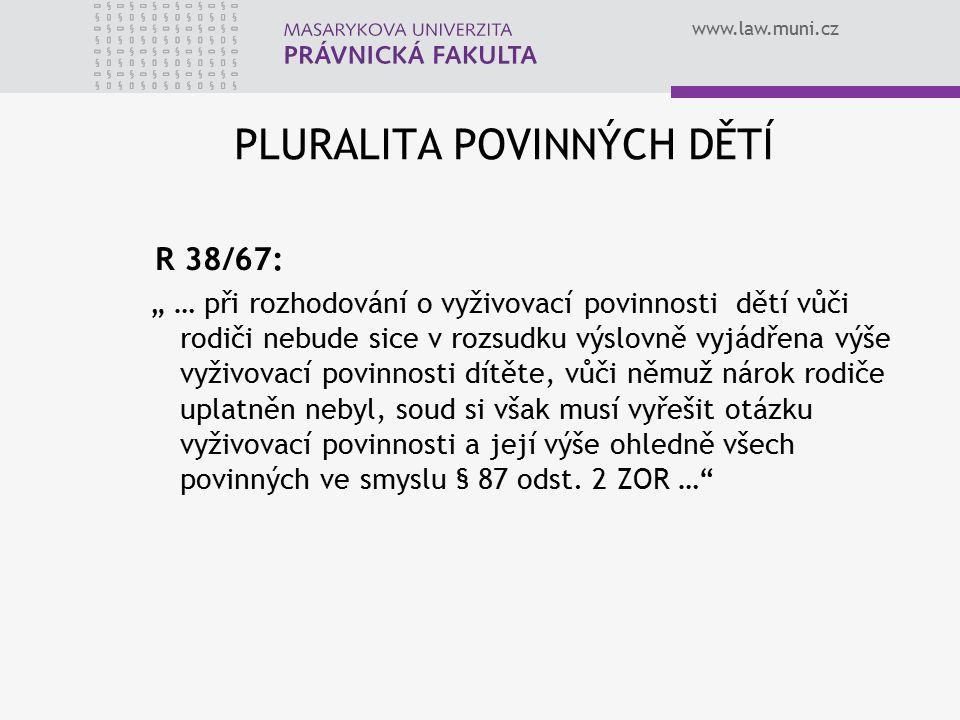 """www.law.muni.cz PLURALITA POVINNÝCH DĚTÍ R 38/67: """" … při rozhodování o vyživovací povinnosti dětí vůči rodiči nebude sice v rozsudku výslovně vyjádřena výše vyživovací povinnosti dítěte, vůči němuž nárok rodiče uplatněn nebyl, soud si však musí vyřešit otázku vyživovací povinnosti a její výše ohledně všech povinných ve smyslu § 87 odst."""
