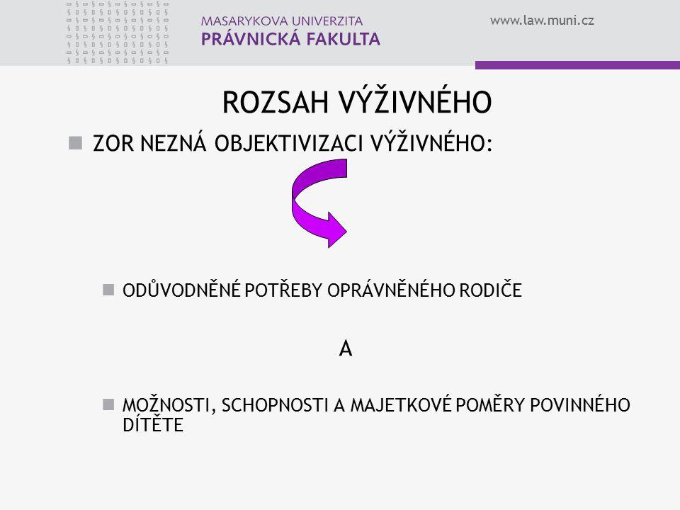 www.law.muni.cz ROZSAH VÝŽIVNÉHO ZOR NEZNÁ OBJEKTIVIZACI VÝŽIVNÉHO: ODŮVODNĚNÉ POTŘEBY OPRÁVNĚNÉHO RODIČE A MOŽNOSTI, SCHOPNOSTI A MAJETKOVÉ POMĚRY POVINNÉHO DÍTĚTE