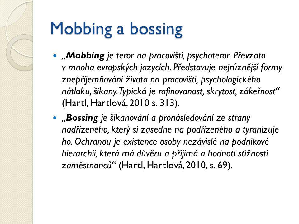 """Mobbing a bossing """"Mobbing je teror na pracovišti, psychoteror. Převzato v mnoha evropských jazycích. Představuje nejrůznější formy znepříjemňování ži"""