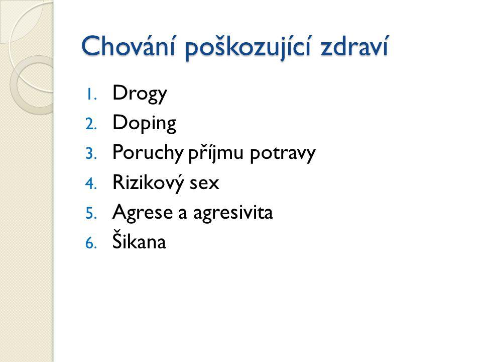 1. Drogy 2. Doping 3. Poruchy příjmu potravy 4. Rizikový sex 5. Agrese a agresivita 6. Šikana