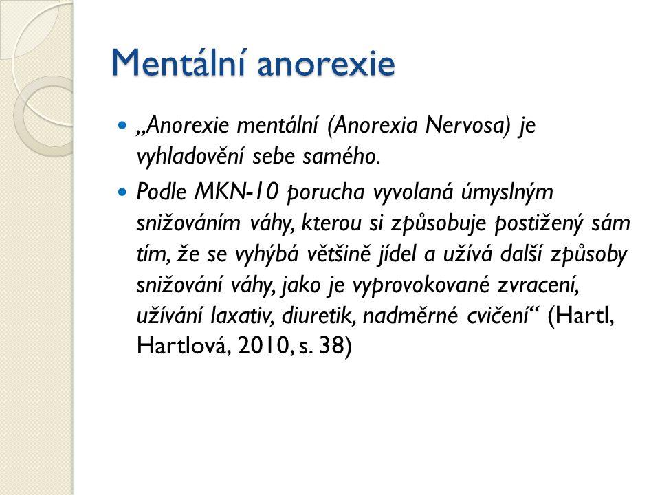 """Mentální anorexie """"Anorexie mentální (Anorexia Nervosa) je vyhladovění sebe samého. Podle MKN-10 porucha vyvolaná úmyslným snižováním váhy, kterou si"""