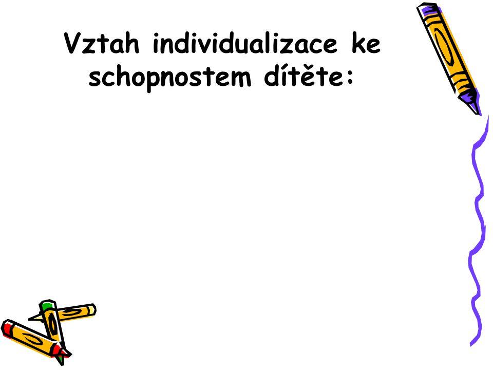 Vztah individualizace ke schopnostem dítěte:
