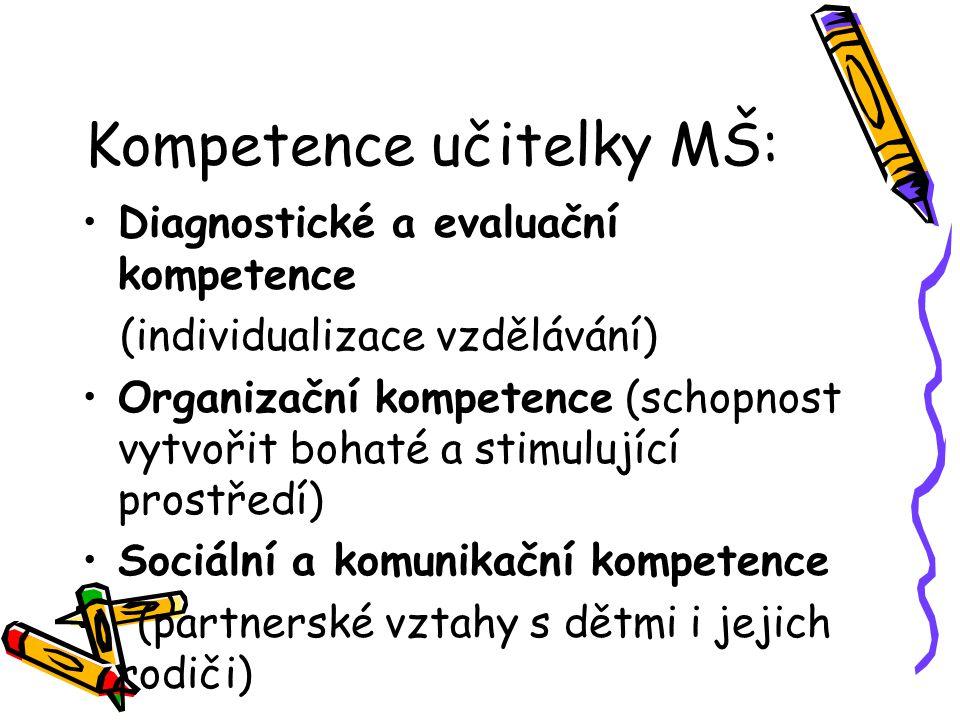 Kompetence učitelky MŠ: Diagnostické a evaluační kompetence (individualizace vzdělávání) Organizační kompetence (schopnost vytvořit bohaté a stimulují