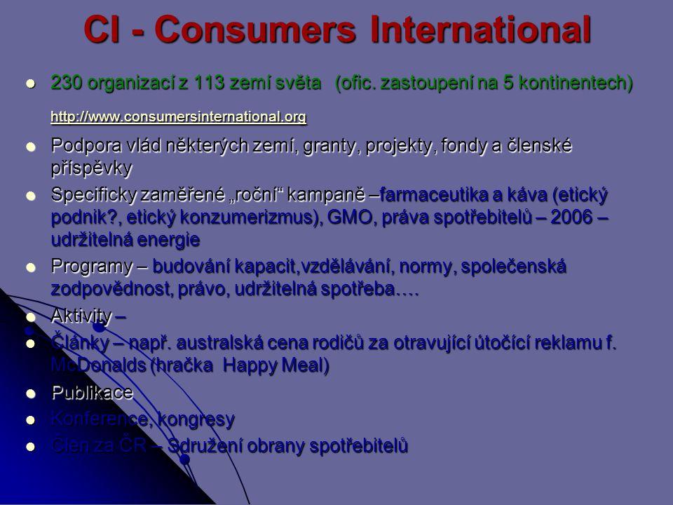 CI - Consumers International 230 organizací z 113 zemí světa (ofic. zastoupení na 5 kontinentech) http://www.consumersinternational.org 230 organizací