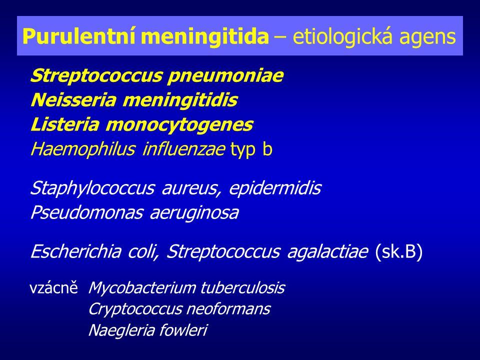 Purulentní meningitida – etiologie podle věku novorozenec 0 - 4 týdny Streptococcus agalactiae E.coli + další Enterobacteriaceae Listeria monocytogenes Enterococcus sp.