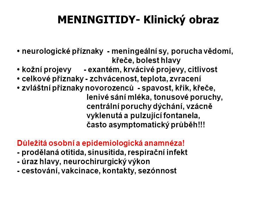 MENINGITIDY- Klinický obraz neurologické příznaky - meningeální sy, porucha vědomí, křeče, bolest hlavy kožní projevy - exantém, krvácivé projevy, cit