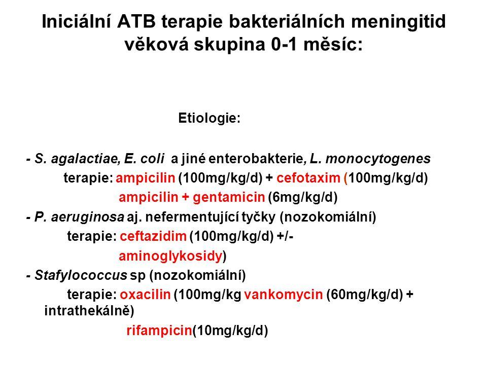 Iniciální ATB terapie bakteriálních meningitid věková skupina 0-1 měsíc: Etiologie: - S. agalactiae, E. coli a jiné enterobakterie, L. monocytogenes t