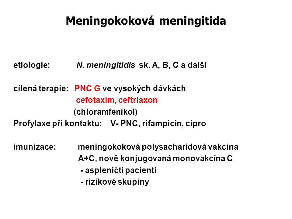 Meningokoková meningitida etiologie: N. meningitidis sk. A, B, C a další cílená terapie: PNC G ve vysokých dávkách cefotaxim, ceftriaxon (chloramfenik