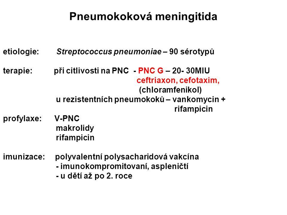 Pneumokoková meningitida etiologie: Streptococcus pneumoniae – 90 sérotypů terapie: při citlivosti na PNC - PNC G – 20- 30MIU ceftriaxon, cefotaxim, (