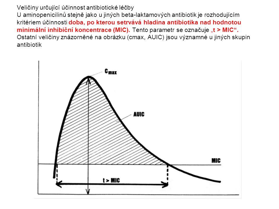 Veličiny určující účinnost antibiotické léčby U aminopenicilinů stejně jako u jiných beta-laktamových antibiotik je rozhodujícím kritériem účinnosti d