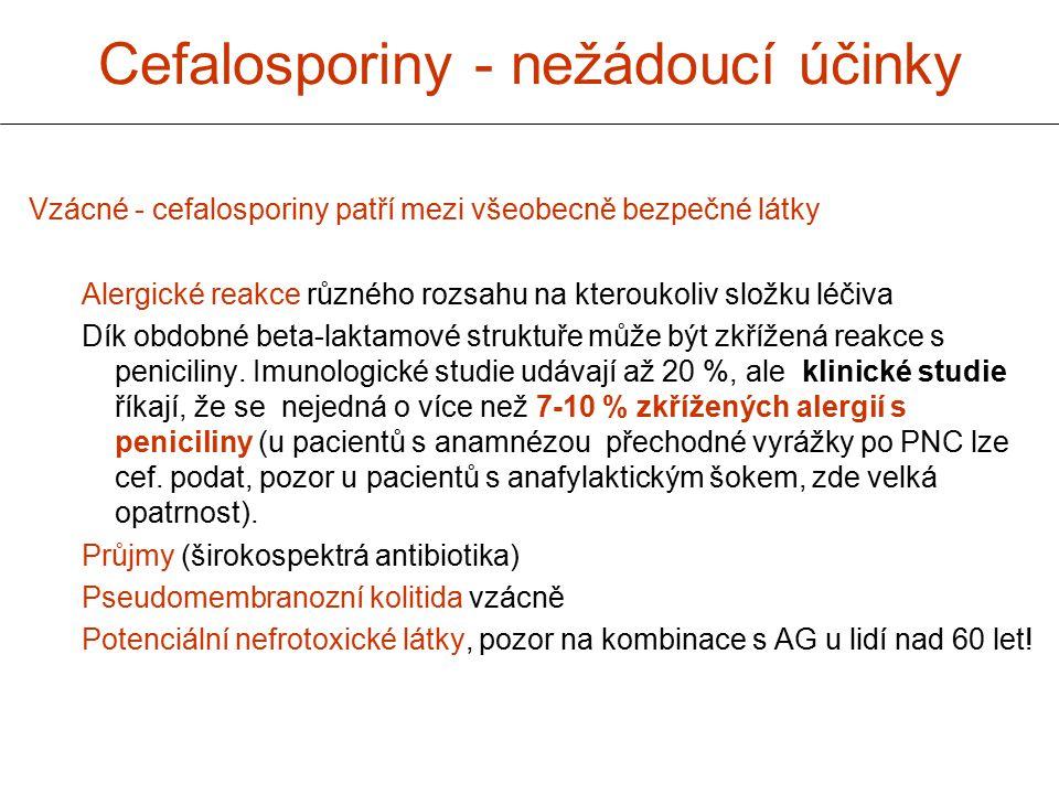 Cefalosporiny - nežádoucí účinky Vzácné - cefalosporiny patří mezi všeobecně bezpečné látky Alergické reakce různého rozsahu na kteroukoliv složku léč