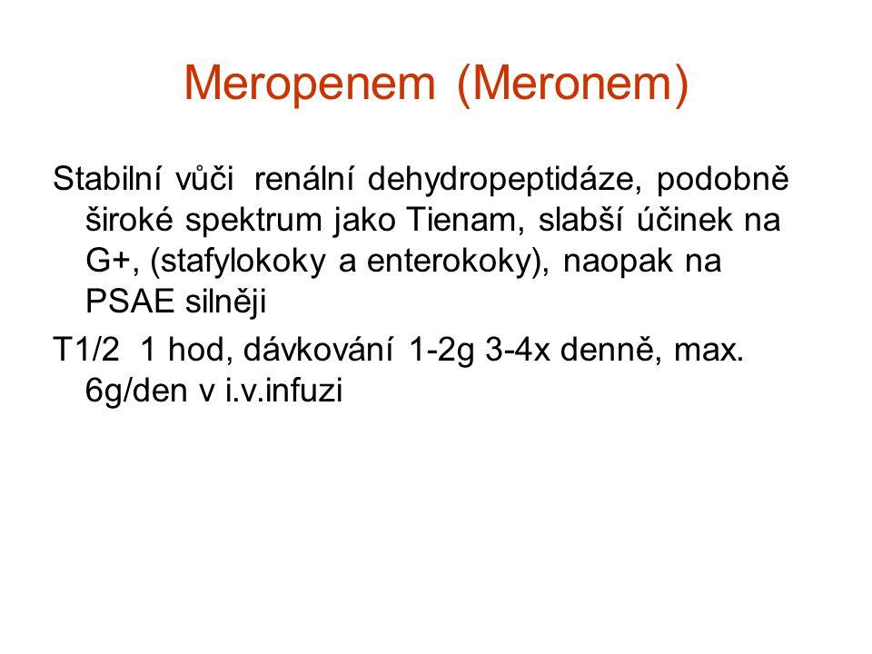 Meropenem (Meronem) Stabilní vůči renální dehydropeptidáze, podobně široké spektrum jako Tienam, slabší účinek na G+, (stafylokoky a enterokoky), naop