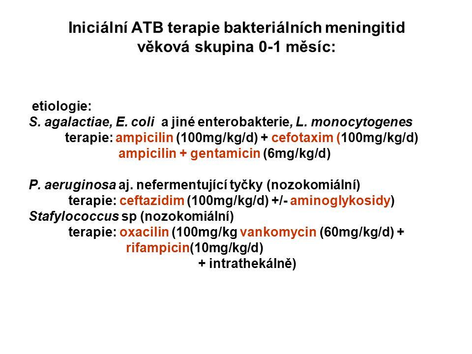 Iniciální ATB terapie bakteriálních meningitid věková skupina 0-1 měsíc: etiologie: S. agalactiae, E. coli a jiné enterobakterie, L. monocytogenes ter