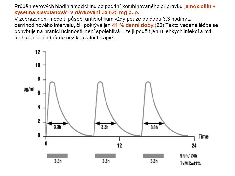 """Průběh sérových hladin amoxicilinu po podání kombinovaného přípravku """"amoxicilin + kyselina klavulanová"""" v dávkování 3x 625 mg p. o. V zobrazeném mode"""