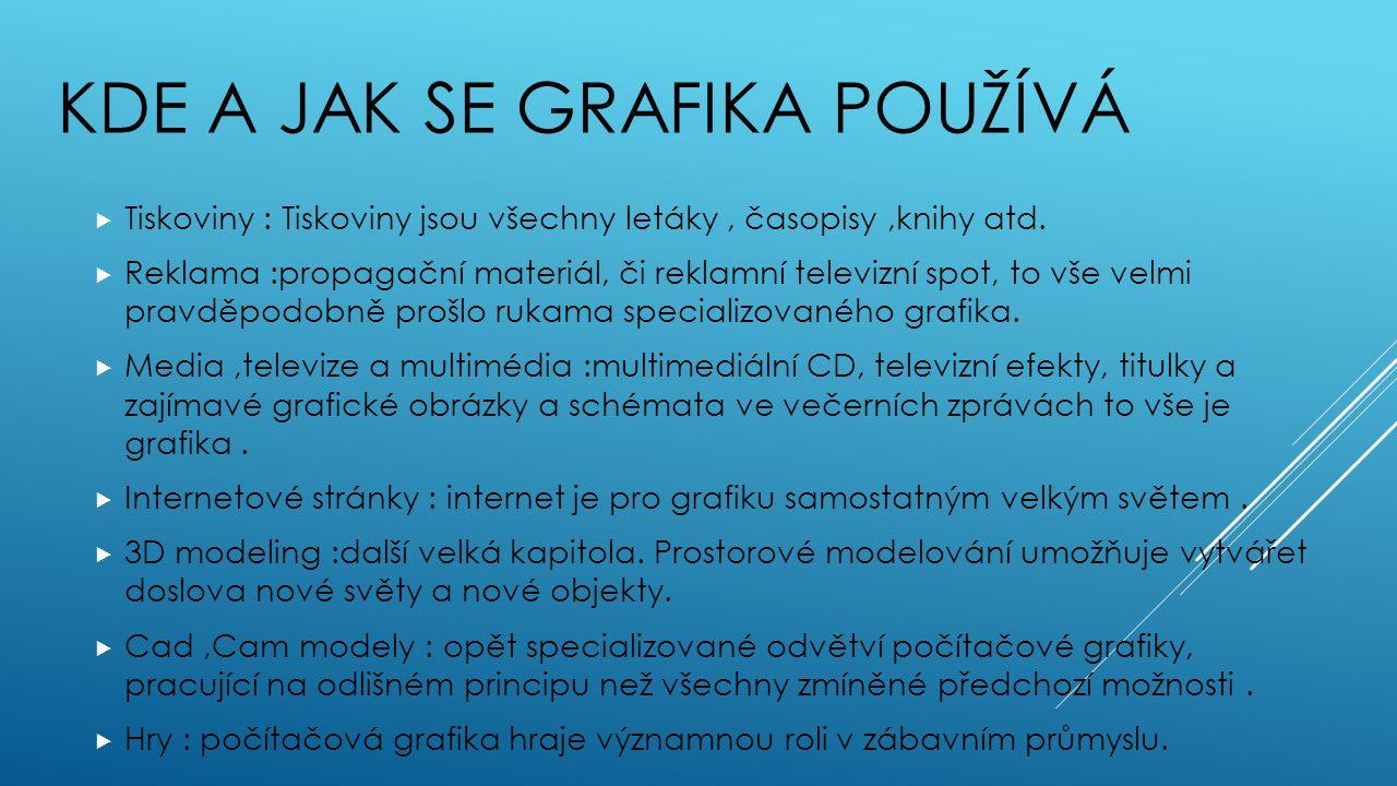 KDE A JAK SE GRAFIKA POUŽÍVÁ  Tiskoviny : Tiskoviny jsou všechny letáky, časopisy,knihy atd.  Reklama :propagační materiál, či reklamní televizní sp