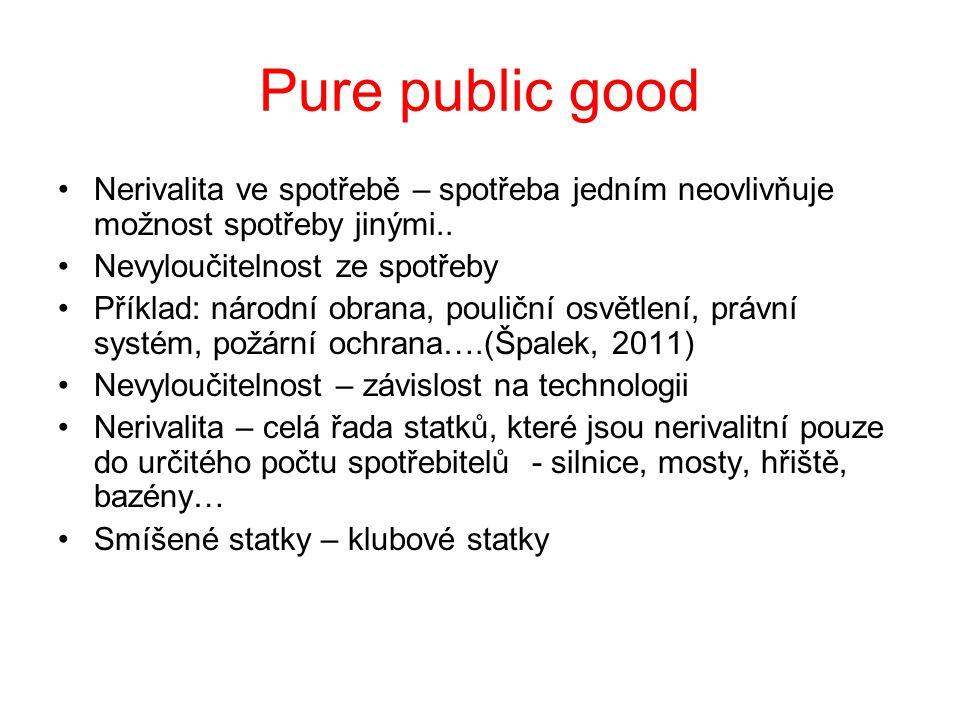 Pure public good Nerivalita ve spotřebě – spotřeba jedním neovlivňuje možnost spotřeby jinými.. Nevyloučitelnost ze spotřeby Příklad: národní obrana,