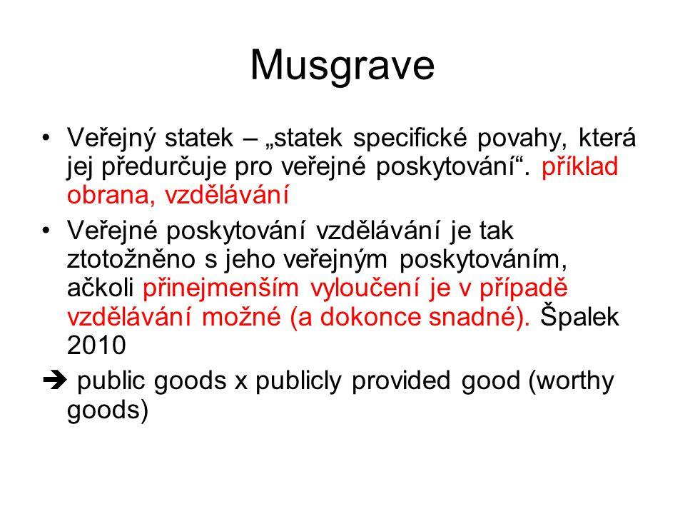 """Musgrave Veřejný statek – """"statek specifické povahy, která jej předurčuje pro veřejné poskytování"""". příklad obrana, vzdělávání Veřejné poskytování vzd"""