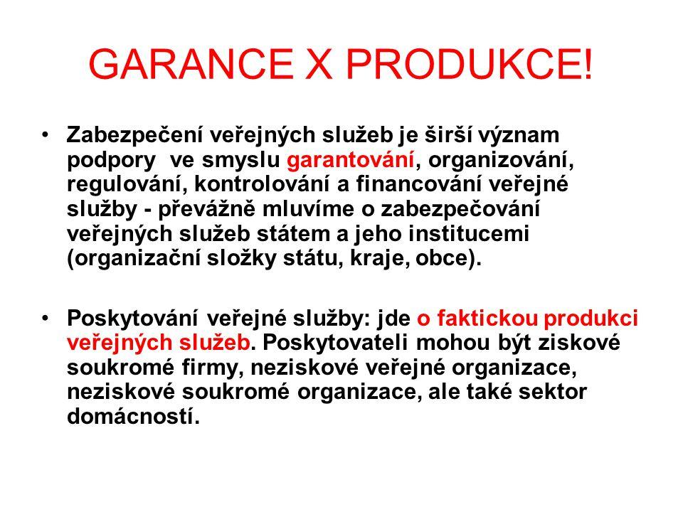 GARANCE X PRODUKCE! Zabezpečení veřejných služeb je širší význam podpory ve smyslu garantování, organizování, regulování, kontrolování a financování v
