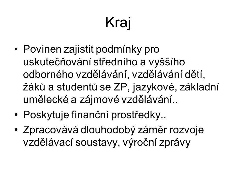 Zřizovatelé škol Regionální školství (obec, kraj, soukromý sektor) Vysoké školy (veřejné, soukromé)