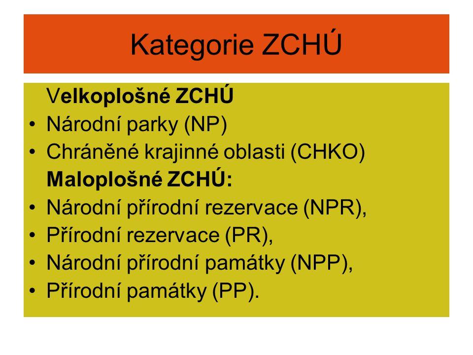 Kategorie ZCHÚ Velkoplošné ZCHÚ Národní parky (NP) Chráněné krajinné oblasti (CHKO) Maloplošné ZCHÚ: Národní přírodní rezervace (NPR), Přírodní rezerv