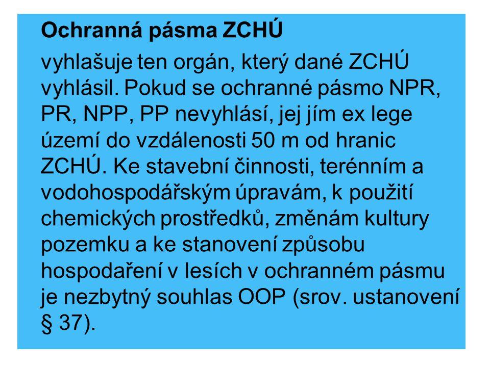 Ochranná pásma ZCHÚ vyhlašuje ten orgán, který dané ZCHÚ vyhlásil. Pokud se ochranné pásmo NPR, PR, NPP, PP nevyhlásí, jej jím ex lege území do vzdále