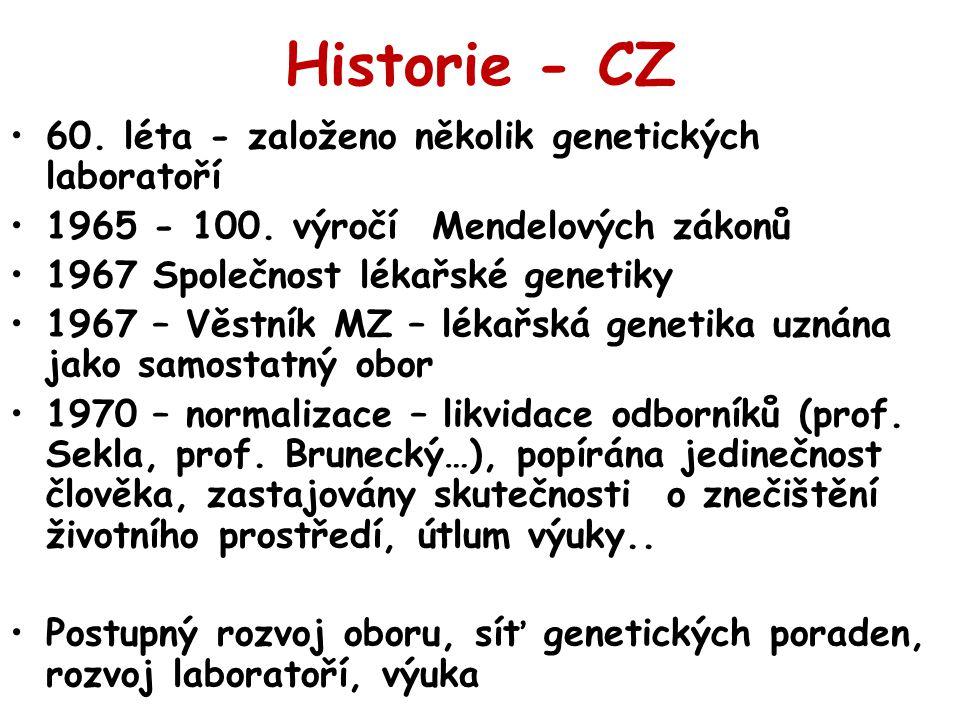 Historie - CZ 60. léta - založeno několik genetických laboratoří 1965 - 100. výročí Mendelových zákonů 1967 Společnost lékařské genetiky 1967 – Věstní