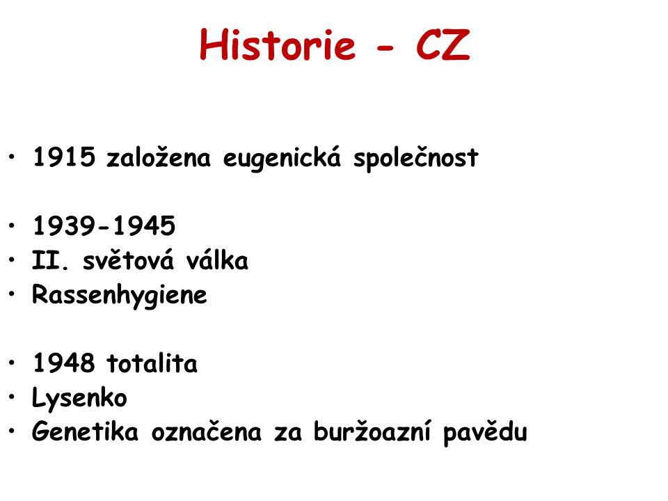 Historie - CZ 1915 založena eugenická společnost 1939-1945 II. světová válka Rassenhygiene 1948 totalita Lysenko Genetika označena za buržoazní pavědu