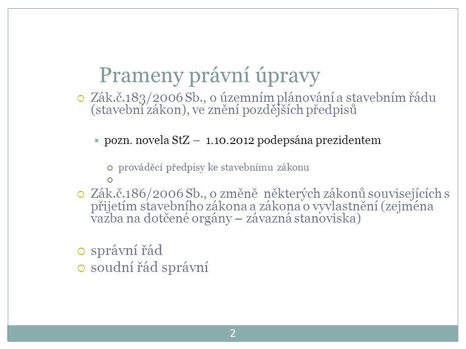 2 Prameny právní úpravy  Zák.č.183/2006 Sb., o územním plánování a stavebním řádu (stavební zákon), ve znění pozdějších předpisů  pozn.
