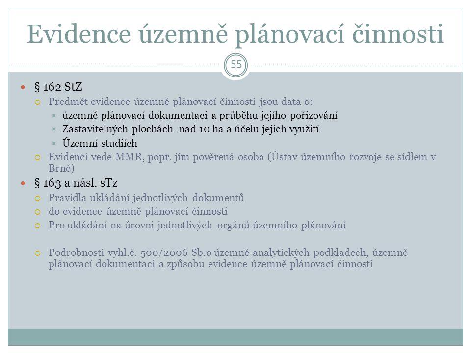 Evidence územně plánovací činnosti 55 § 162 StZ  Předmět evidence územně plánovací činnosti jsou data o:  územně plánovací dokumentaci a průběhu jejího pořizování  Zastavitelných plochách nad 10 ha a účelu jejich využití  Územní studiích  Evidenci vede MMR, popř.