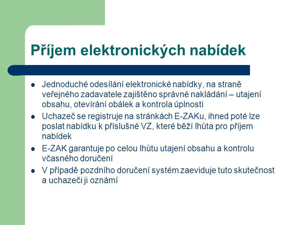 Příjem elektronických nabídek Jednoduché odesílání elektronické nabídky, na straně veřejného zadavatele zajištěno správné nakládání – utajení obsahu, otevírání obálek a kontrola úplnosti Uchazeč se registruje na stránkách E-ZAKu, ihned poté lze poslat nabídku k příslušné VZ, které běží lhůta pro příjem nabídek E-ZAK garantuje po celou lhůtu utajení obsahu a kontrolu včasného doručení V případě pozdního doručení systém zaeviduje tuto skutečnost a uchazeči ji oznámí
