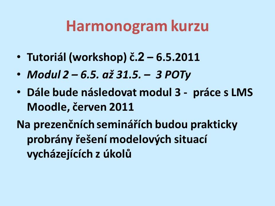 Harmonogram kurzu Tutoriál (workshop) č. 2 – 6.5.2011 Modul 2 – 6.5.