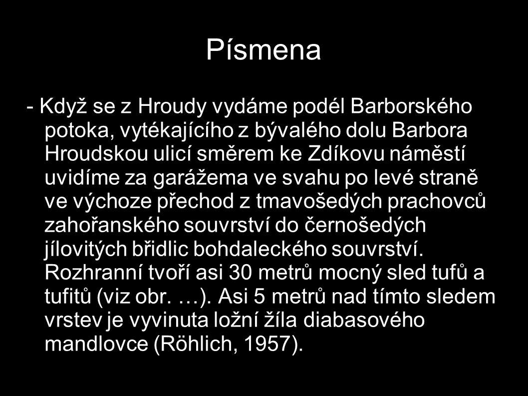 Písmena - Když se z Hroudy vydáme podél Barborského potoka, vytékajícího z bývalého dolu Barbora Hroudskou ulicí směrem ke Zdíkovu náměstí uvidíme za