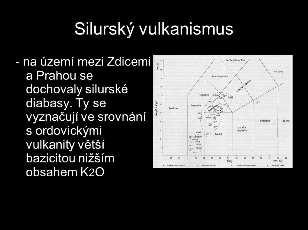 Silurský vulkanismus - na území mezi Zdicemi a Prahou se dochovaly silurské diabasy. Ty se vyznačují ve srovnání s ordovickými vulkanity větší bazicit