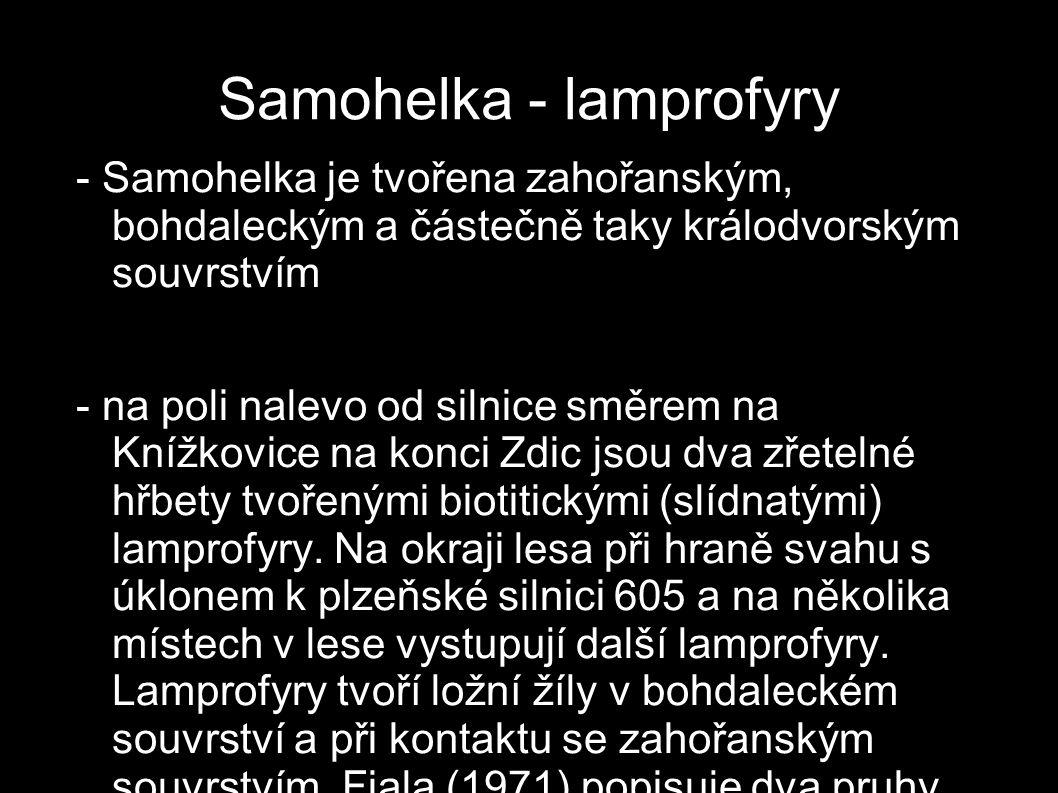 Samohelka - lamprofyry - Samohelka je tvořena zahořanským, bohdaleckým a částečně taky králodvorským souvrstvím - na poli nalevo od silnice směrem na
