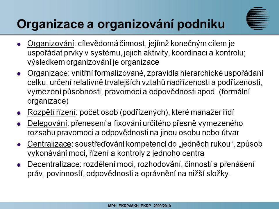 MPH_EKRP/MKH_EKRP 2009/2010 Organizace a organizování podniku Organizování: cílevědomá činnost, jejímž konečným cílem je uspořádat prvky v systému, je