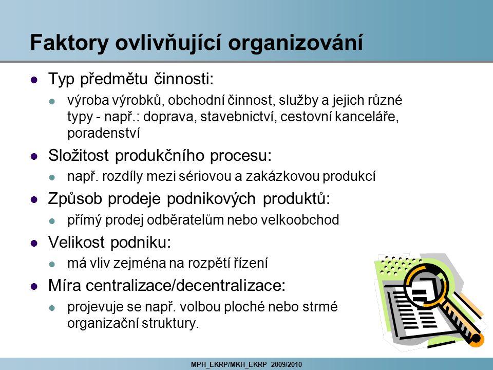 MPH_EKRP/MKH_EKRP 2009/2010 Faktory ovlivňující organizování Typ předmětu činnosti: výroba výrobků, obchodní činnost, služby a jejich různé typy - nap