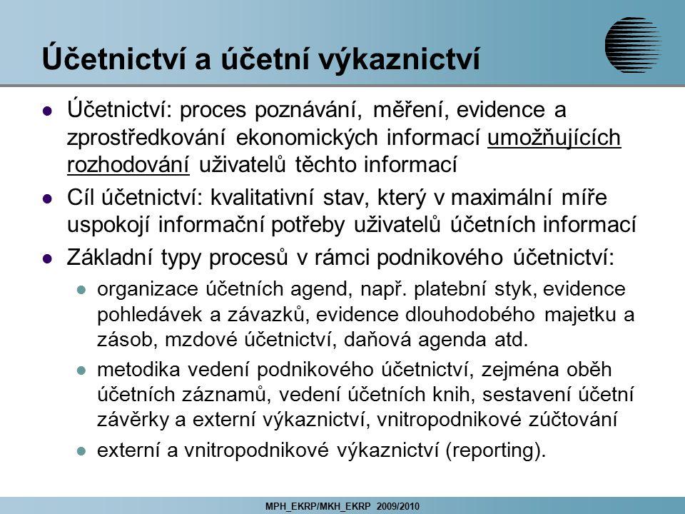 MPH_EKRP/MKH_EKRP 2009/2010 Účetnictví a účetní výkaznictví Účetnictví: proces poznávání, měření, evidence a zprostředkování ekonomických informací um